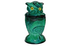 Summit Art Glass / Imperial Green Slag Covered Owl Container / Candy