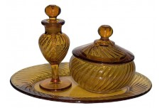 Imperial  Twisted Optic #313 Vanity / Perfume Set in Hard to Find Amber Color DONE