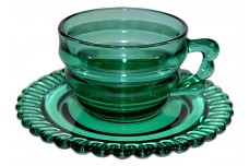 Indiana Depression Terrace Green (Teal) Christmas Candy Cup and Saucer