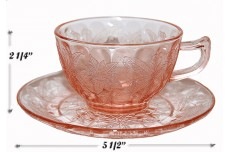 Jeannette Floral Poinsettia Pink Cup and Saucer