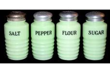 Jeannette Jadite / Jade-ite Ribbed Salt, Pepper, Sugar and Flour Shaker Set - VINTAGE 1930s DONE