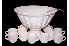 Jeannette Shell Pink Milk Glass Punch Set (Bowl, 12 Cups, Ladel)