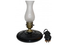 Jefferson Glass Pancake Lamp Crystal Satin Shade with Black Base Floral Pattern1920s