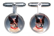 VINCENT SIMONE Sterling Silver Bull Dog Cufflinks /Reverse Carved Essex Crystals