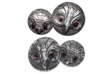 VINCENT SIMONE Sterling Silver & Amethyst Wise Owl Cufflinks