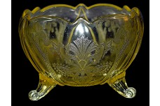 Lancaster Glass Landrum Topaz / Yellow Footed Rose Bowl