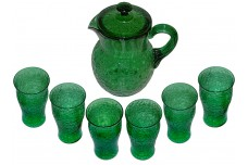 McKee Innovation Crackled Glassware # 88-1 Green Covered Iced Tea Set - Pitcher and Tumblers