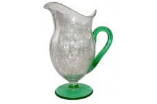 Morgantown Bolero Crackle (Craquelle) Glass Venetian Green  / Crystal Footed Pitcher / Jug