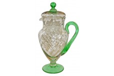 Morgantown Lockard #7585 48 Ounce Venetian Green & Crystal  Spiral Optic Pitcher / Jug with Lid - RARE