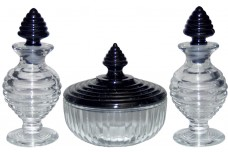 New Martinsville  Leota Black and Crystal Vanity / Perfume Set
