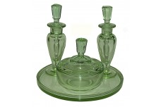 New Martinsville Green Vanity / Perfume Set / 2 Perfumes / Puff Box & Round Tray