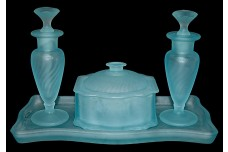 New Martinsville Blue Satin Swirl Vanity / Perfume Set / 2 Perfumes / Puff Box & Tray