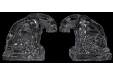 New Martinsville Crystal Tiger Bookends (two figures)