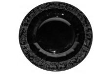 "Paden City Black Forest Black Milk Glass 8 1/4"" Plate"