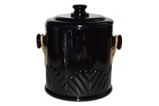 Paden Black Covered Macaroon / Cookie Jar / Ice Bucket - GREAT PIECE!
