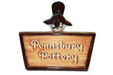 Pennsbury Pottery Dealer Advertising Sign with Wren Figure