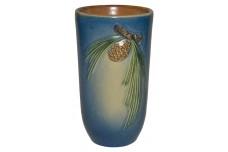 Roseville Pine Cone Blue Flat Tumbler