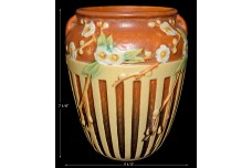"Roseville Cherry Blossom Brown with Cream Lattice Decoration 7 1/8"" Vase"
