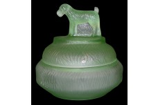 "L.E. Smith ""STANDING TERRIER"" Green Satin Depression Glass Dog Powder Jar"