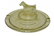 L.E.Smith / Greensburg Unusual Yellow Large Standing Terrier Ashtray