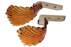 Pair of Vintage Amber Depression Glass Drapery / Curtain Tie Backs