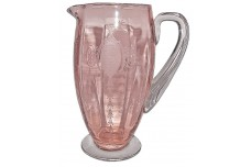 Tiffin Classic Pink #194 Footed Pitcher / Crystal Applied Handle SCARCE