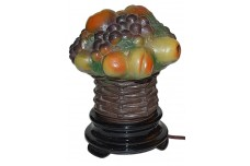 Tiffin Figural E-5 Fruit Basket  Lamp in Chimney with Black Glass Base