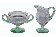 Tiffin Crystal and Green #4 Footed Sugar and Creamer with Vertical Ribbing