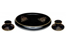 "Tiffin ""Ship"" Black Satin Console Bowl & Candlesticks / Grey & Gold Decoration"