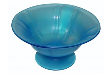 U.S. Glass / Tiffin Blue Stretch #314 Glass Fantastic Large Footed Bowl