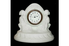 Depression Era Pretty White Satin Cherub Clock