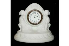 Depression Era Pretty White Satin Cherub Clock
