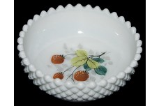 Westmoreland English Hobnail White Fruits Handpainted Berry Bowl