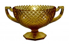 Westmoreland English Hobnail  Amber Two Handled Compote / Console Bowl