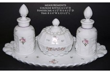 Westmoreland Paneled Grape Roses and Bows Vanity Set