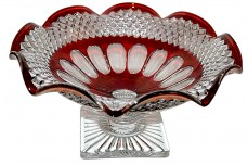 "Westmoreland Waterford Line (#1932) / Wexford  Ruby Stained 10 1/2"" Footed Fruit / Console Bowl"