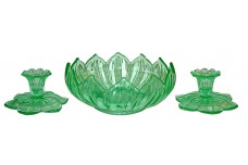 Westmoreland Green Lotus Console Set - Bowl and Candlesticks - 1930s