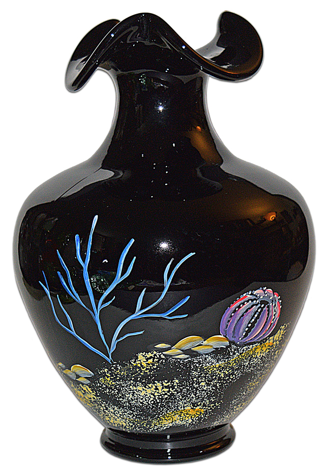 Fenton Paradise underwater scene vase TOS