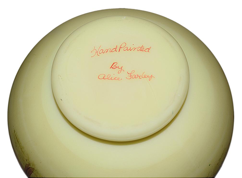 Alice Farley Signature on Fenton Scenic Vase