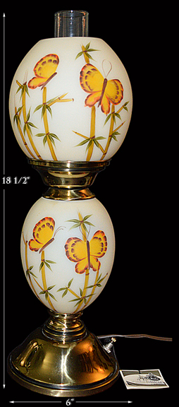 Fenton Butterfly and Bamboo Lamp