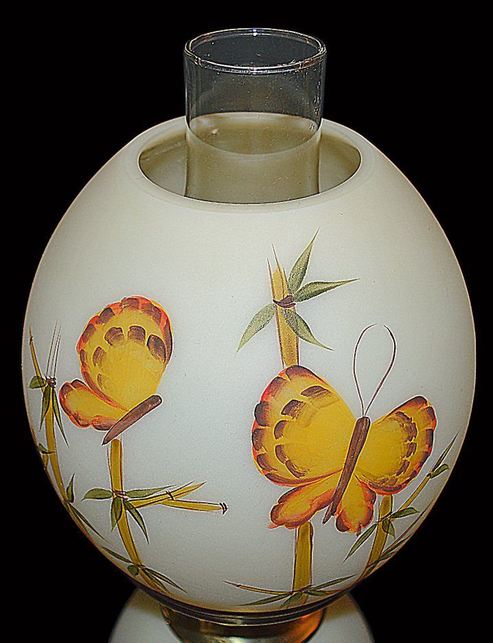 Fenton Butterfly and Bamboo Lamp Shade Front