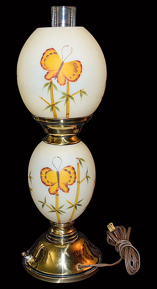 Fenton Butterfly and Bamboo Lamp TOS