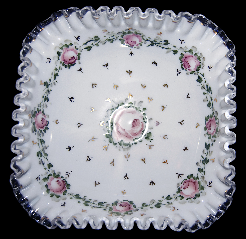 Fenton Charleton Roses Footed Bowl / Compote Top