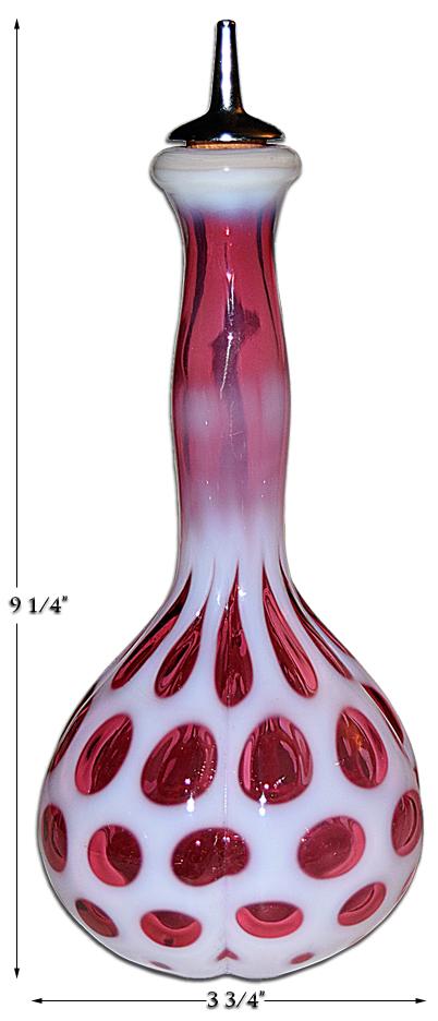 Fenton Cranberry Coin Dot Barber Bottle