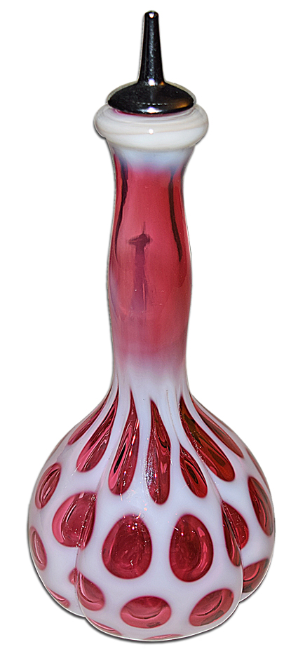 Fenton Cranberry Coin Dot Barber Bottle The Other Side