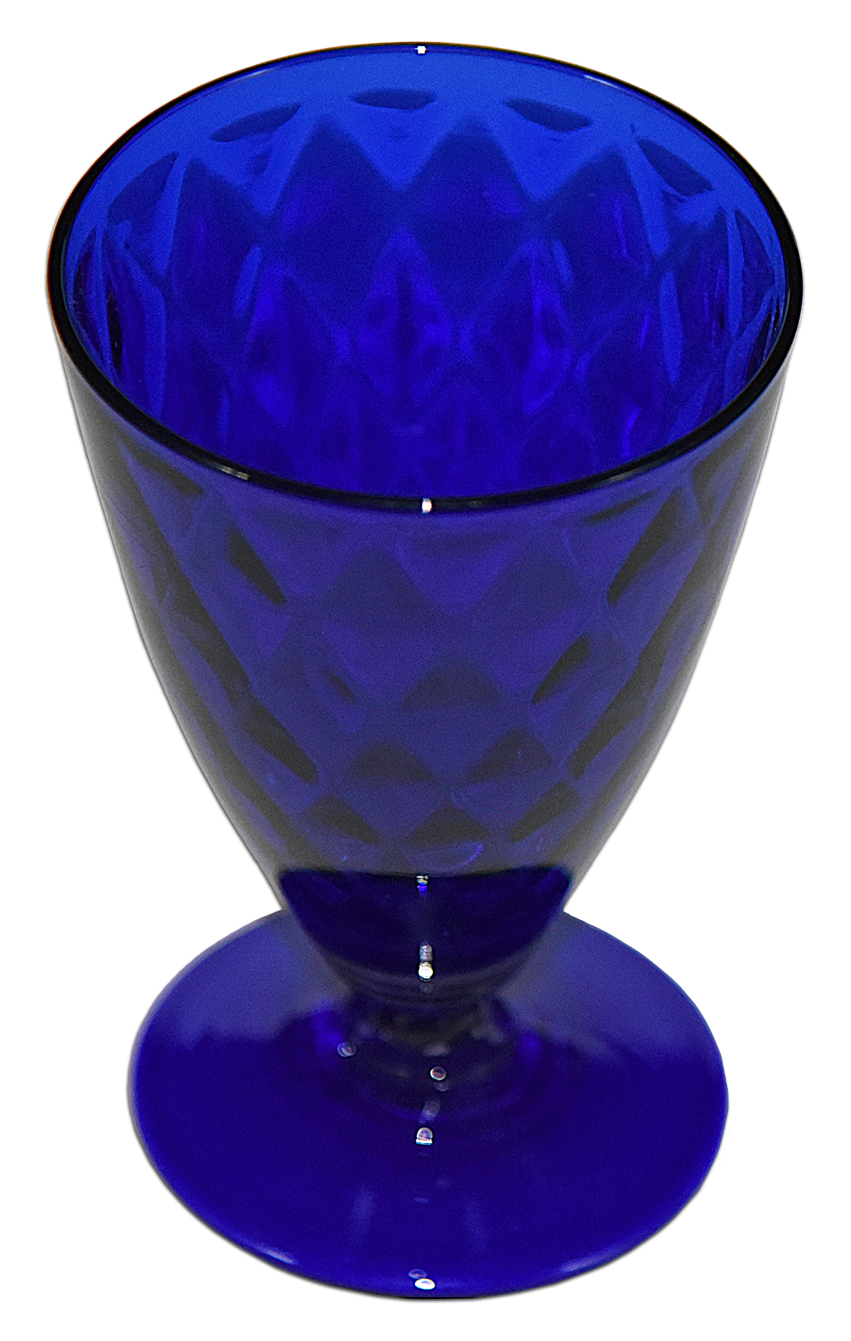 FENTON DIAMOND OPTIC ROYAL BLUE FOOTED TUMBLER LOOKING DOWN