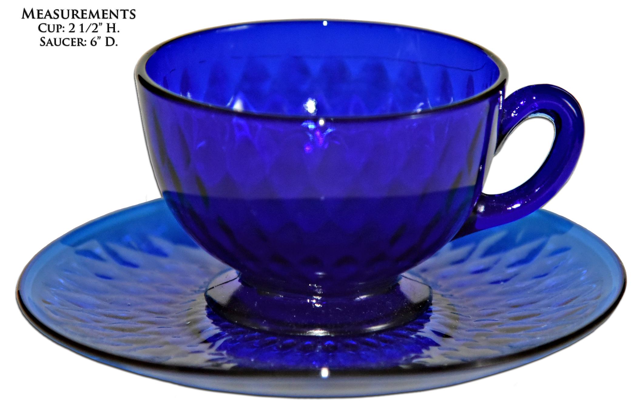 Fenton Royal Blue Diamond Optic Cup and Saucer