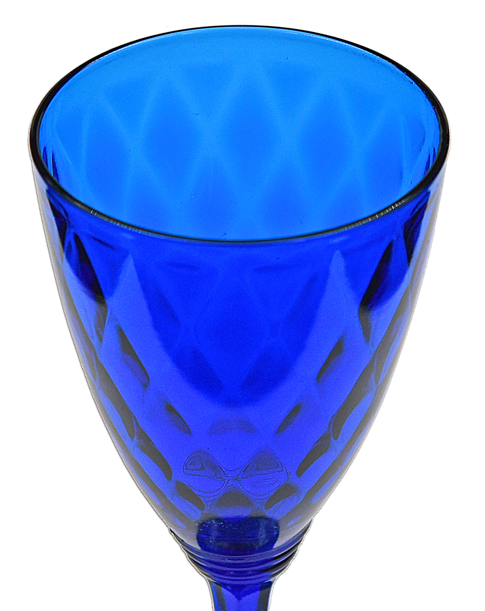 Fenton Diamond Optic Royal Blue Water Goblet Bowl
