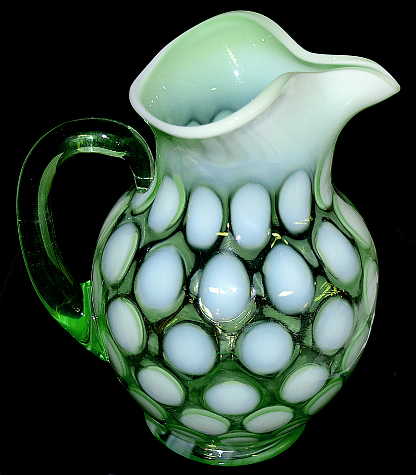 Fenton 1353 Pitcher in Green Opalescent Dot Optic TOS