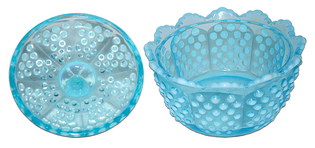 Fenton Blue Hobnail Butter Tub / Candy Apart